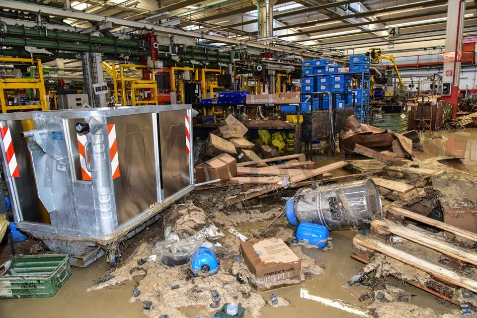 STAFF WORK TIRELESSLY TO RESTORE MANUFACTURING PLANT AFTER FLASH FLOOD
